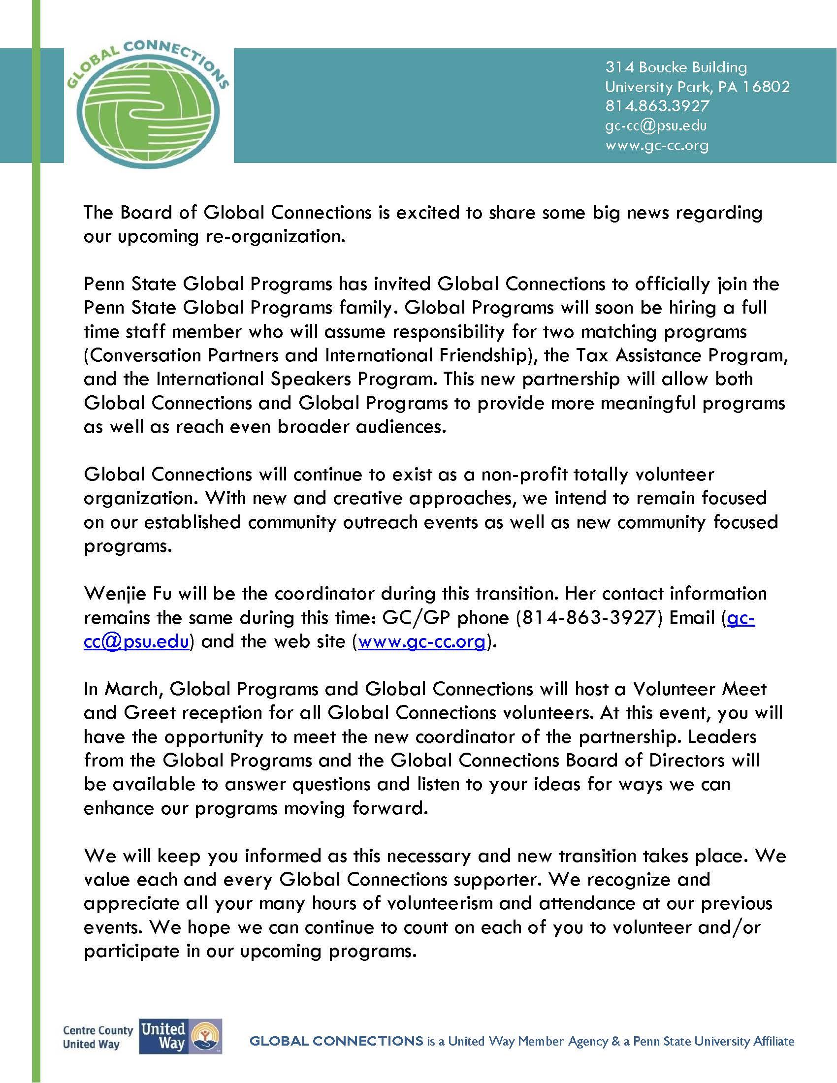Letterhead – GC&GP announcement